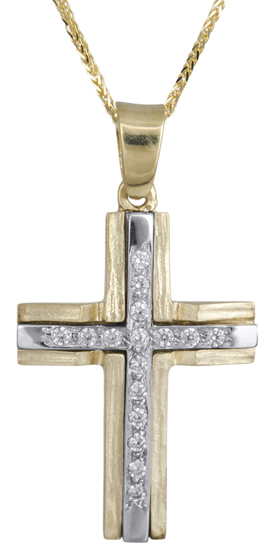 Βαπτιστικοί Σταυροί με Αλυσίδα Σταυρός βάπτισης Κ14 C021855 021855C Γυναικείο Χρυσός 14 Καράτια