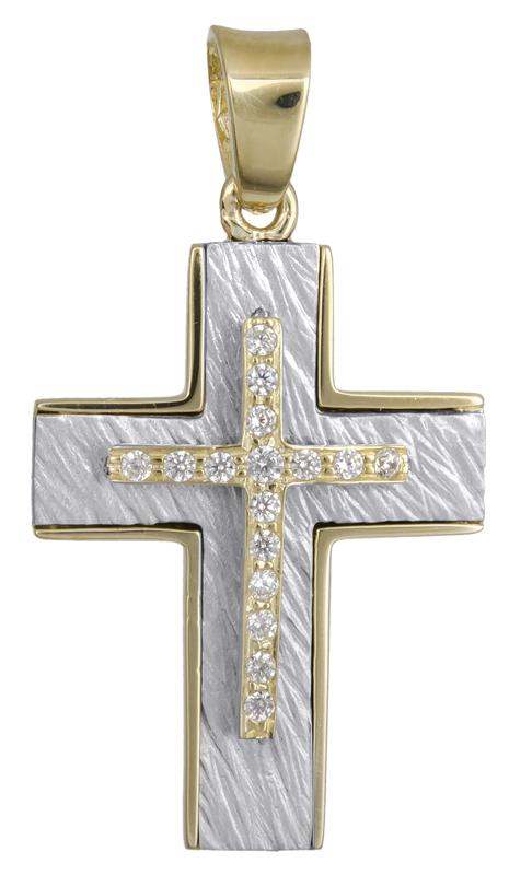 Σταυροί Βάπτισης - Αρραβώνα Σταυρός διπλής όψης Κ14 021856 021856 Γυναικείο Χρυσός 14 Καράτια