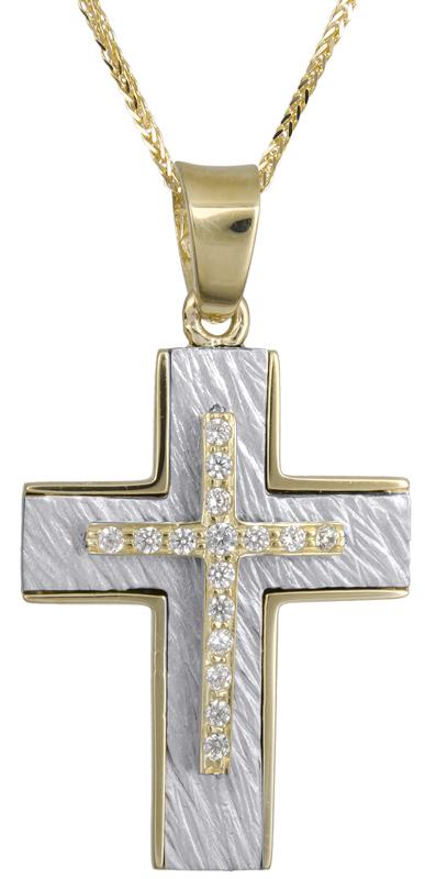Βαπτιστικοί Σταυροί με Αλυσίδα Χρυσός - Λευκόχρυσος σταυρός Κ14 C021856 021856C Γυναικείο Χρυσός 14 Καράτια