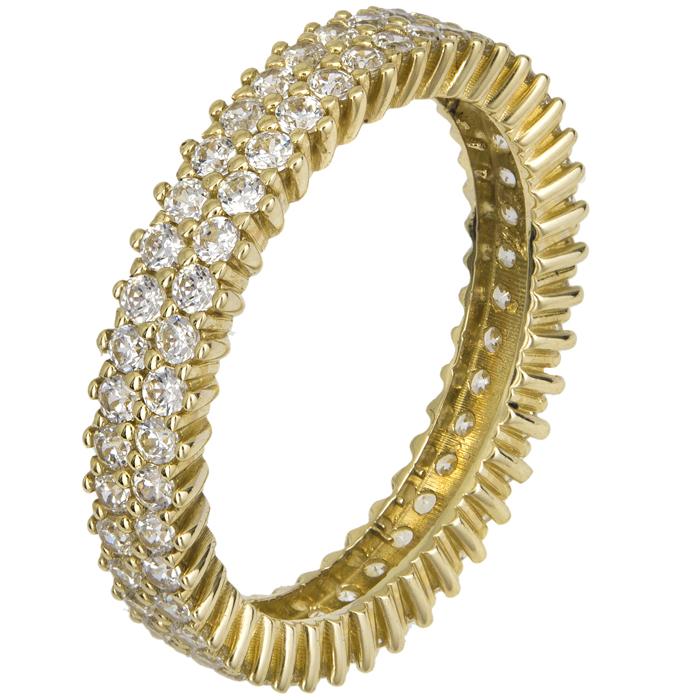 Χρυσό δαχτυλίδι με λευκές ζιργκόν Κ14 021867 021867 Χρυσός 14 Καράτια