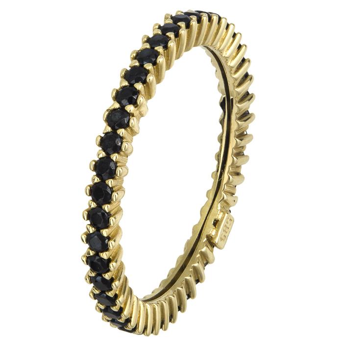 Σειρέ δαχτυλίδι με μαύρες ζιργκόν Κ14 021871 021871 Χρυσός 14 Καράτια