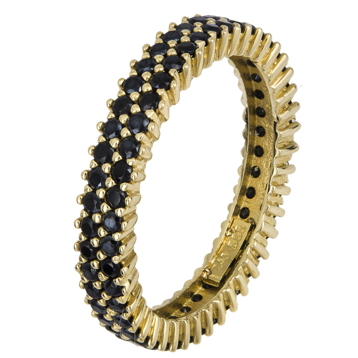Δίσειρο δαχτυλίδι με μαύρες ζιργκόν Κ14 021872 021872 Χρυσός 14 Καράτια