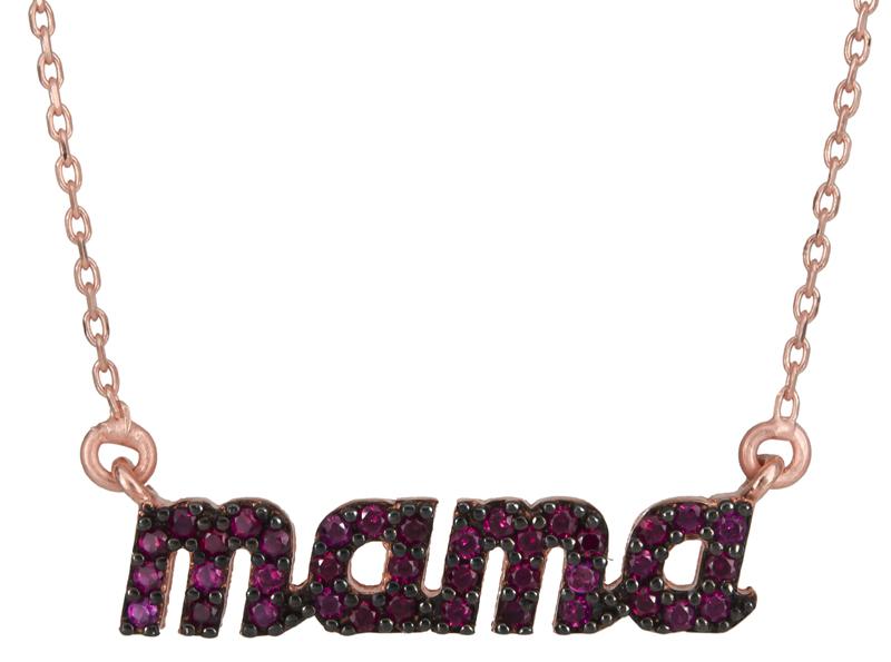 Γυναικείο κολιέ mama με φούξια ζιργκόν 925 021884 021884 Ασήμι