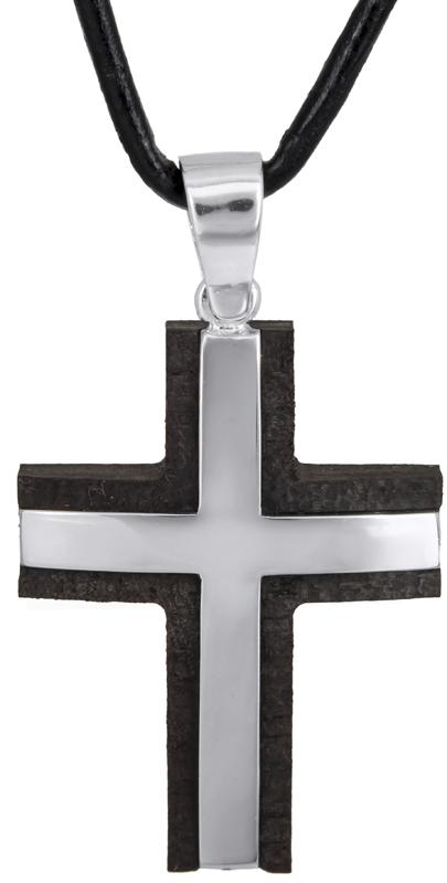 Βαπτιστικοί Σταυροί με Αλυσίδα Αντρικός σταυρός με ξύλο έβενο Κ14 C021900 021900C Ανδρικό Χρυσός 14 Καράτια