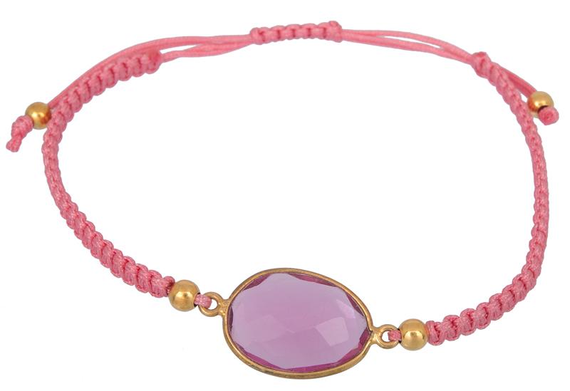 Μακραμέ βραχιόλι με ροζ πέτρα 021917 021917 Ασήμι