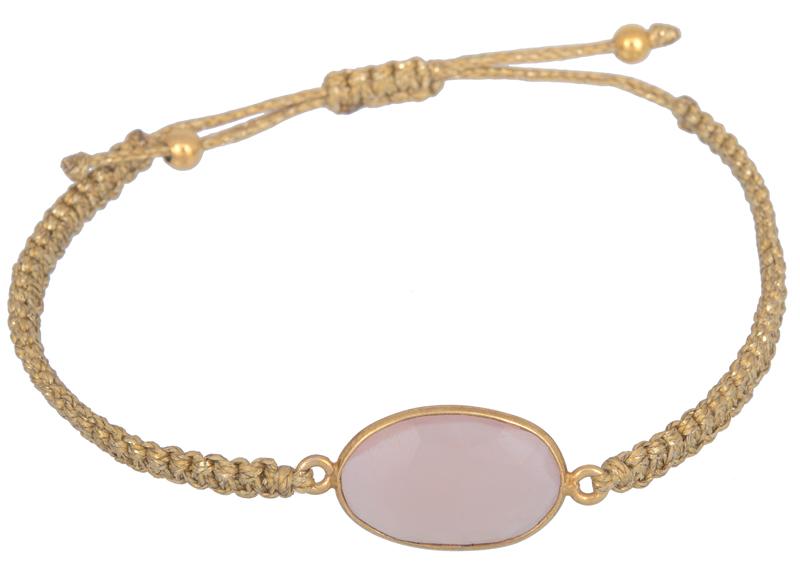 Γυναικείο μακραμέ βραχιόλι με ροζ πέτρα 021919 021919 Ασήμι