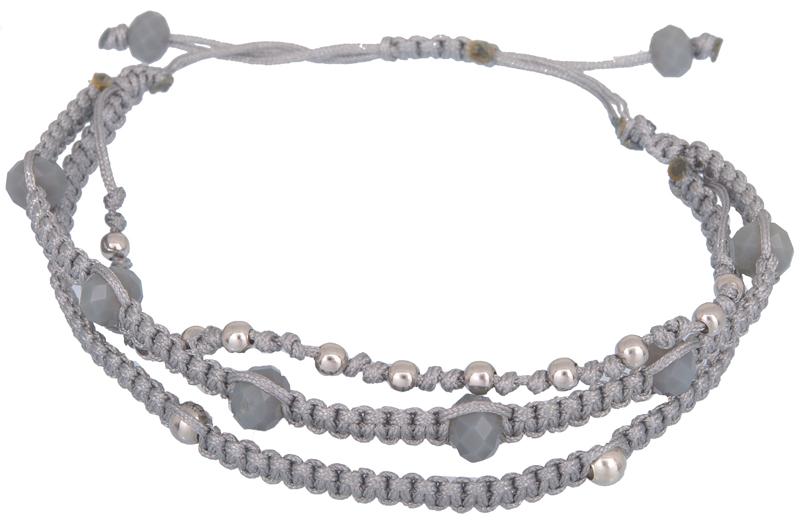 Γυναικείο τρίσειρο βραχιόλι με χάντρες 021940 021940 Ασήμι ασημένια κοσμήματα βραχιόλια