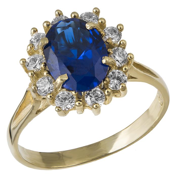 Δαχτυλίδι ροζέτα με μπλε ζιργκόν 14Κ 021958 021958 Χρυσός 14 Καράτια