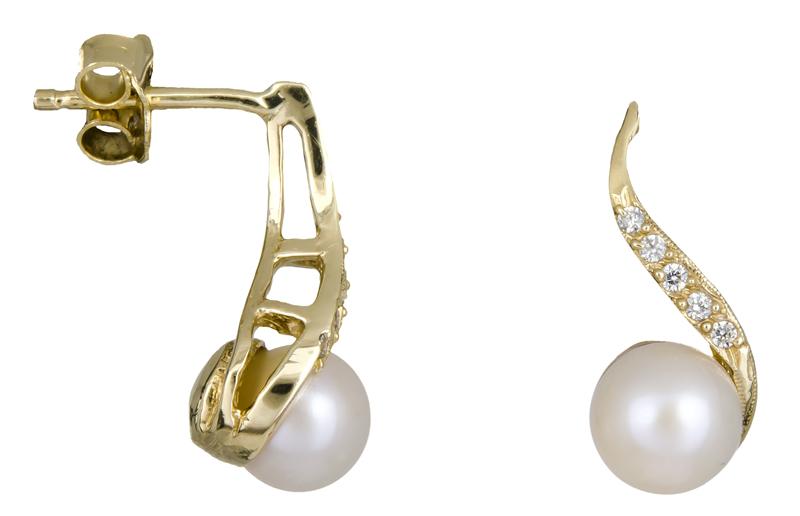 Γυναικεία χρυσά σκουλαρίκια Κ14 με μαργαριτάρια 021974 021974 Χρυσός 14 Καράτια