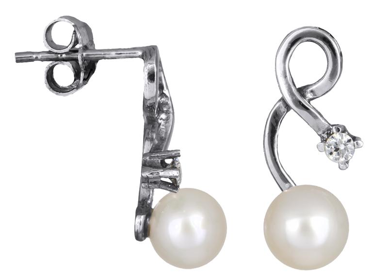 Λευκόχρυσα σκουλαρίκια Κ14 με μαργαριτάρια 021976 021976 Χρυσός 14 Καράτια