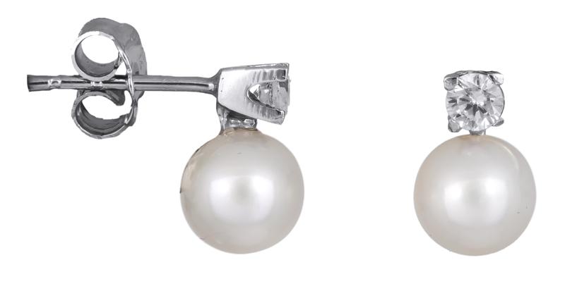 Λευκόχρυσα γυναικεία σκουλαρίκια Κ14 με μαργαριτάρια 021977 021977 Χρυσός 14 Καράτια