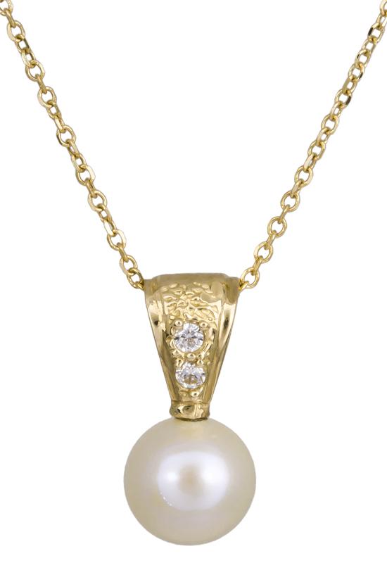 Γυναικείο χρυσό κολιέ Κ14 με μαργαριτάρι 021984 021984 Χρυσός 14 Καράτια