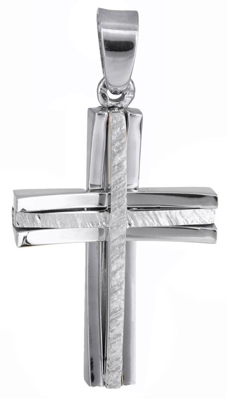 Σταυροί Βάπτισης - Αρραβώνα Λευκόχρυσος αντρικός σταυρός 18Κ 021999 021999 Ανδρικό Χρυσός 18 Καράτια