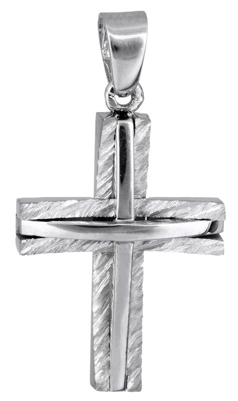 Σταυροί Βάπτισης - Αρραβώνα Λευκόχρυσος σταυρός βάπτισης 18Κ 022000 022000 Ανδρικό Χρυσός 18 Καράτια