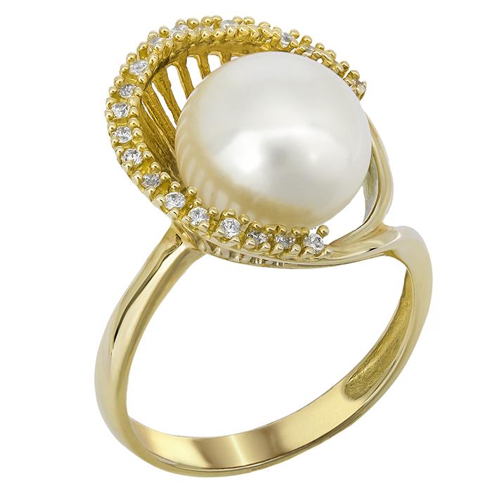 Χρυσό γυναικείο δαχτυλίδι Κ14 με μαργαριτάρι 14Κ 022035 022035 Χρυσός 14 Καράτια