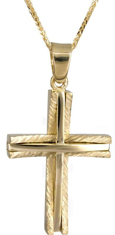 Βαπτιστικοί Σταυροί με Αλυσίδα Ανδρικός σταυρός με αλυσίδα 14Κ C022042 022042C Ανδρικό Χρυσός 14 Καράτια
