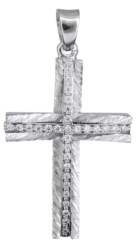 Σταυροί Βάπτισης - Αρραβώνα Γυναικείος λευκόχρυσος σταυρός Κ14 με ζιργκόν 022043 022043 Γυναικείο Χρυσός 14 Καράτια