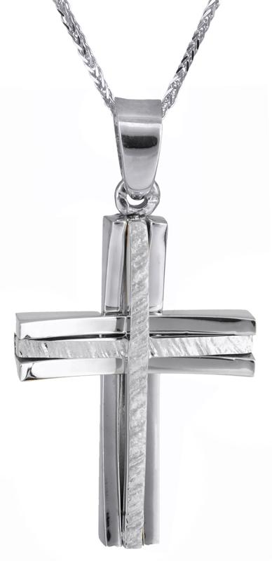 Βαπτιστικοί Σταυροί με Αλυσίδα Λευκόχρυσος σταυρός βάπτισης με αλυσίδα 14Κ C022045 022045C Ανδρικό Χρυσός 14 Καράτια