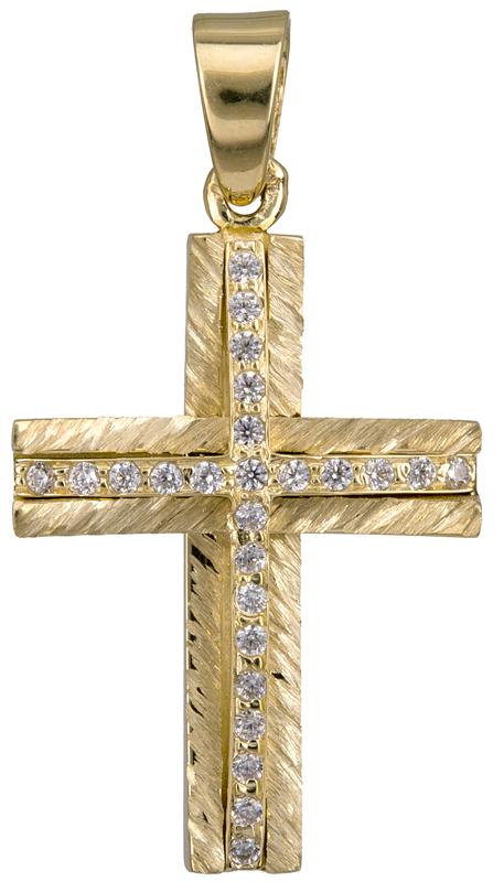 Σταυροί Βάπτισης - Αρραβώνα Γυναικείος σταυρός Κ14 με ζιργκόν 022047 022047 Γυναικείο Χρυσός 14 Καράτια
