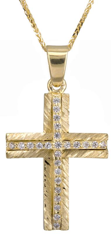 Βαπτιστικοί Σταυροί με Αλυσίδα Γυναικείος σταυρός 14Κ με αλυσίδα C022047 022047C Γυναικείο Χρυσός 14 Καράτια