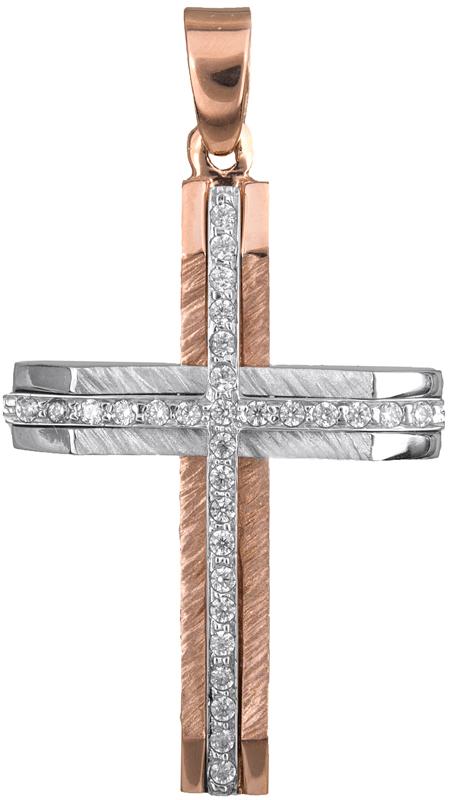 Σταυροί Βάπτισης - Αρραβώνα Ροζ χρυσός γυναικείος σταυρός Κ14 022050 022050 Γυνα σταυροί βάπτισης   γάμου σταυροί βάπτισης   αρραβώνα