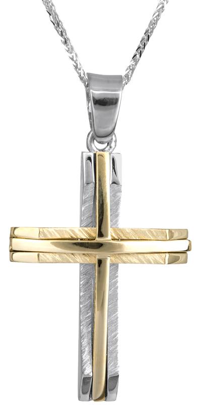 Βαπτιστικοί Σταυροί με Αλυσίδα Δίχρωμος σταυρός με καδένα Κ14 C022051 022051C Ανδρικό Χρυσός 14 Καράτια