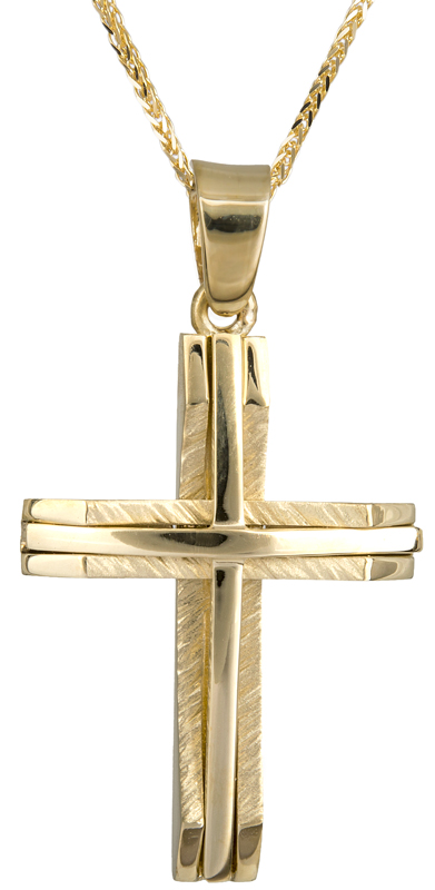 Βαπτιστικοί Σταυροί με Αλυσίδα Χρυσός αντρικός σταυρός με αλυσίδα Κ14 C022052 022052C Ανδρικό Χρυσός 14 Καράτια