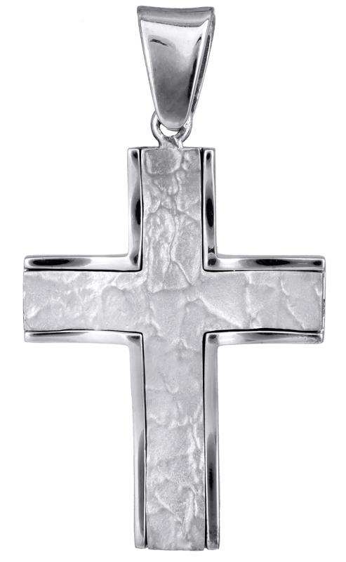 Σταυροί Βάπτισης - Αρραβώνα Λευκόχρυσος ανδρικός σταυρός Κ18 022057 022057 Ανδρικό Χρυσός 18 Καράτια