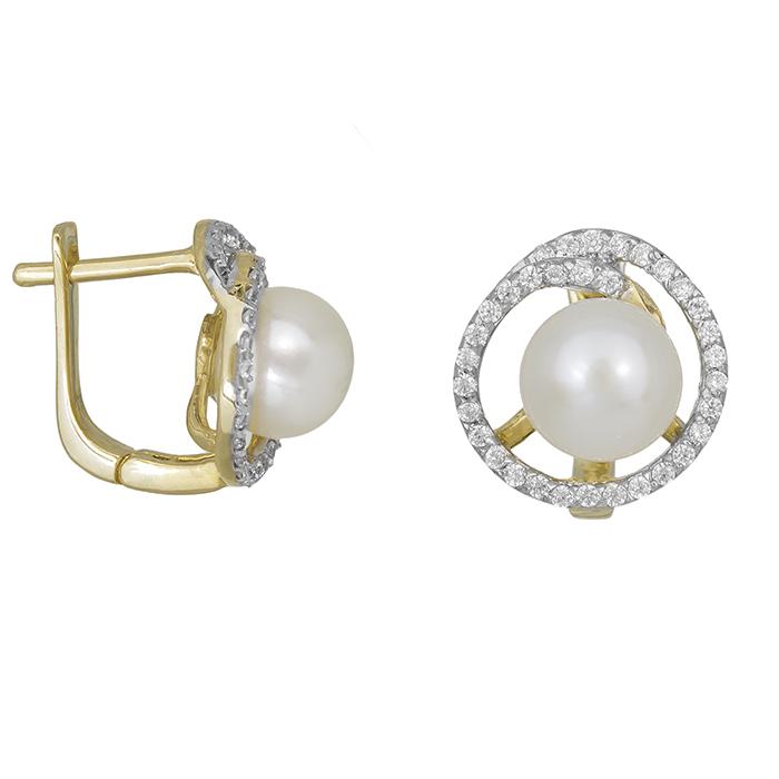 Χρυσά σκουλαρίκια Κ14 με ζιργκόν και μαργαριτάρι 022070 022070 Χρυσός 14 Καράτια