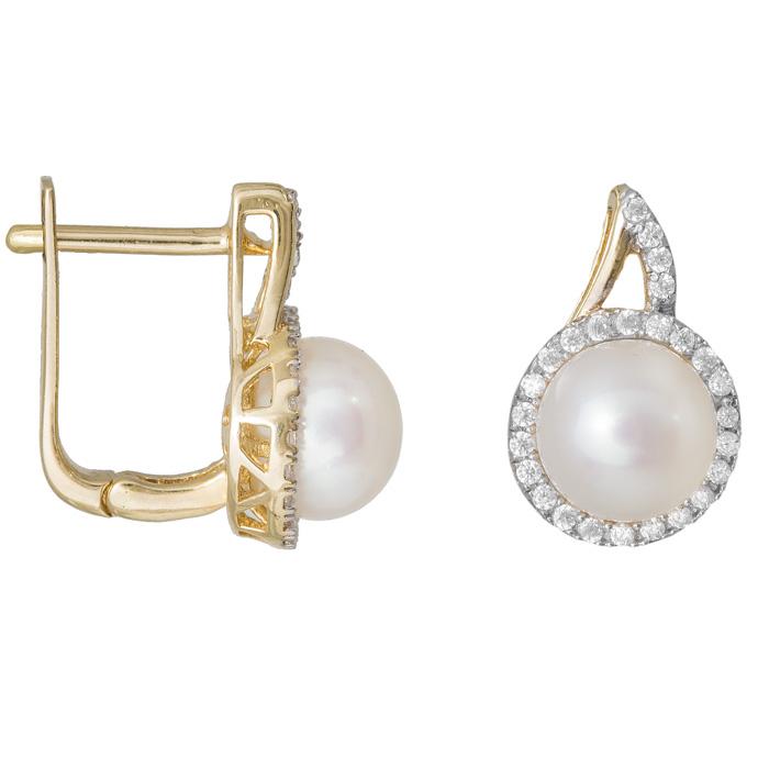 Γυναικεία σκουλαρίκια Κ14 με μαργαριτάρι και ζιργκόν πέτρες 022073 022073 Χρυσός 14 Καράτια