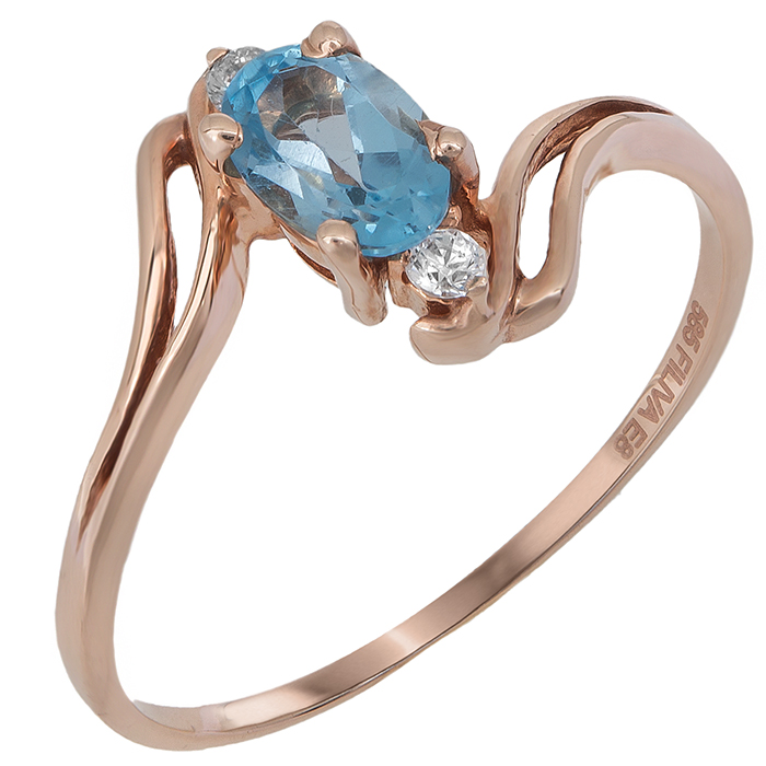 Ροζ gold δαχτυλίδι Κ14 με γαλάζια ζιργκόν 022074 022074 Χρυσός 14 Καράτια
