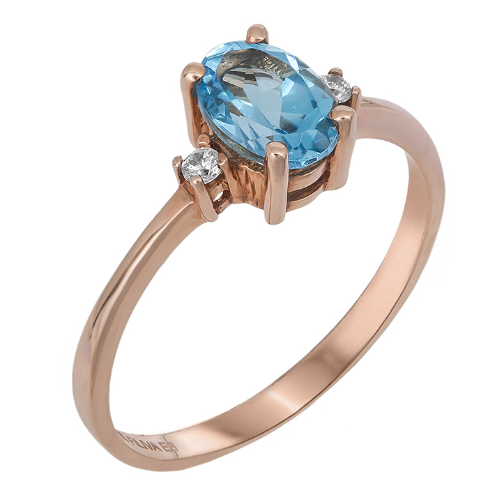 Ροζ gold μονόπετρο Κ14 με γαλάζια ζιργκόν 022076 022076 Χρυσός 14 Καράτια χρυσά κοσμήματα δαχτυλίδια μονόπετρα