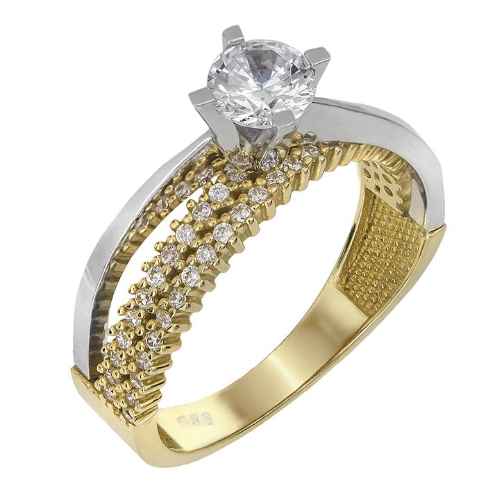 Δίχρωμο μονόπετρο Κ14 με ζιργκόν 022078 022078 Χρυσός 14 Καράτια χρυσά κοσμήματα δαχτυλίδια μονόπετρα