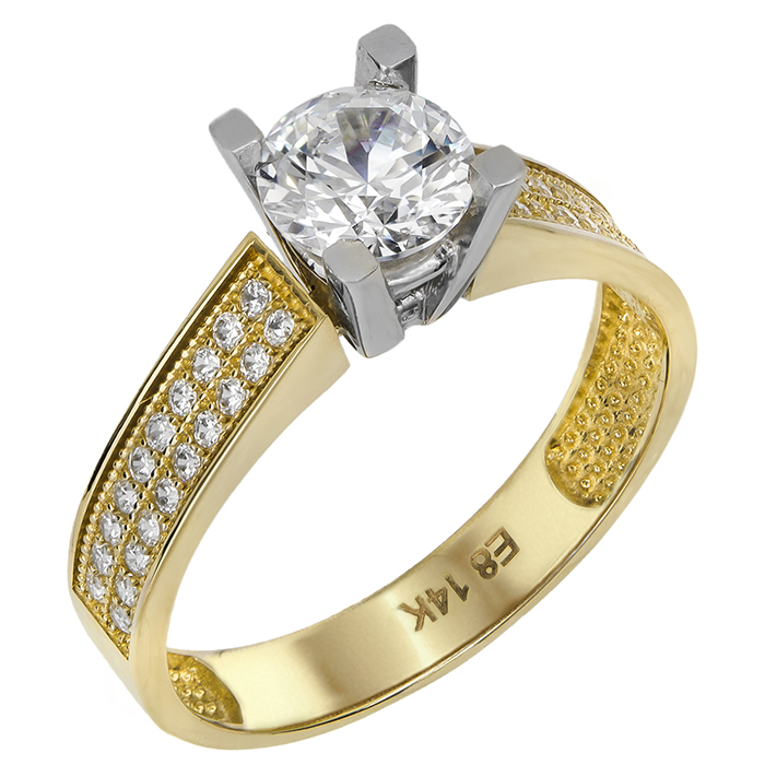 Δίχρωμο κλασικό μονόπετρο Κ14 022087 022087 Χρυσός 14 Καράτια