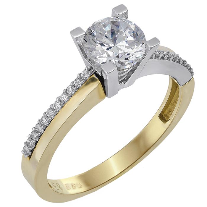 Μονόπετρο δίχρωμο Κ14 με ζιργκόν 022092 022092 Χρυσός 14 Καράτια χρυσά κοσμήματα δαχτυλίδια μονόπετρα