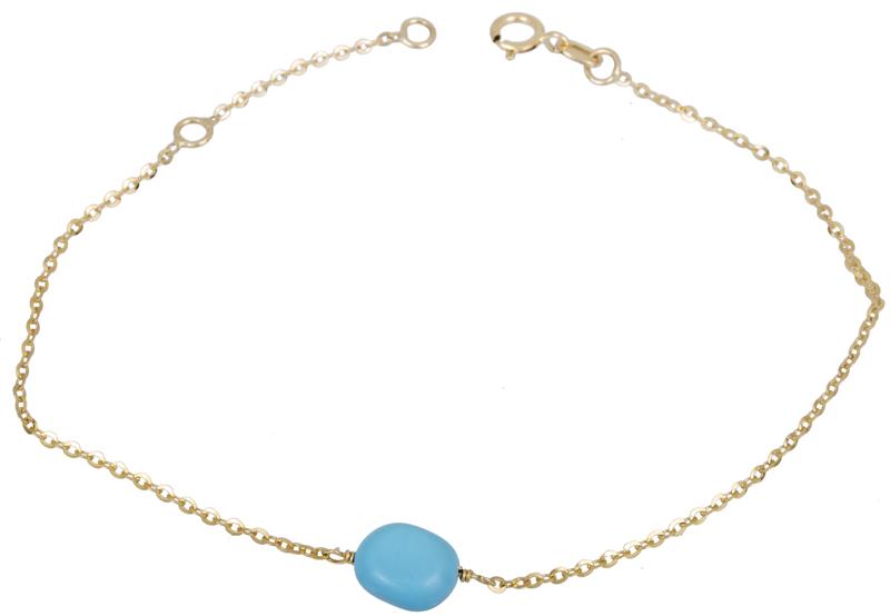 Χρυσό βραχιόλι με μπλε χάντρα Κ14 022101 022101 Χρυσός 14 Καράτια