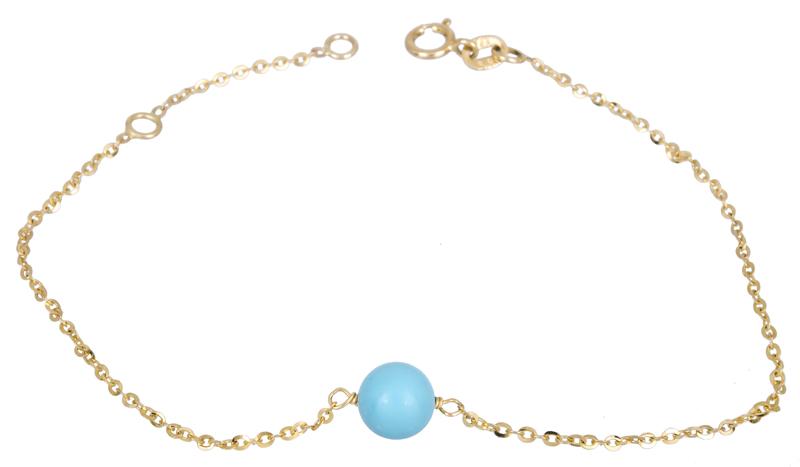 Γυναικείο βραχιόλι με μπλε χάντρα Κ14 022102 022102 Χρυσός 14 Καράτια