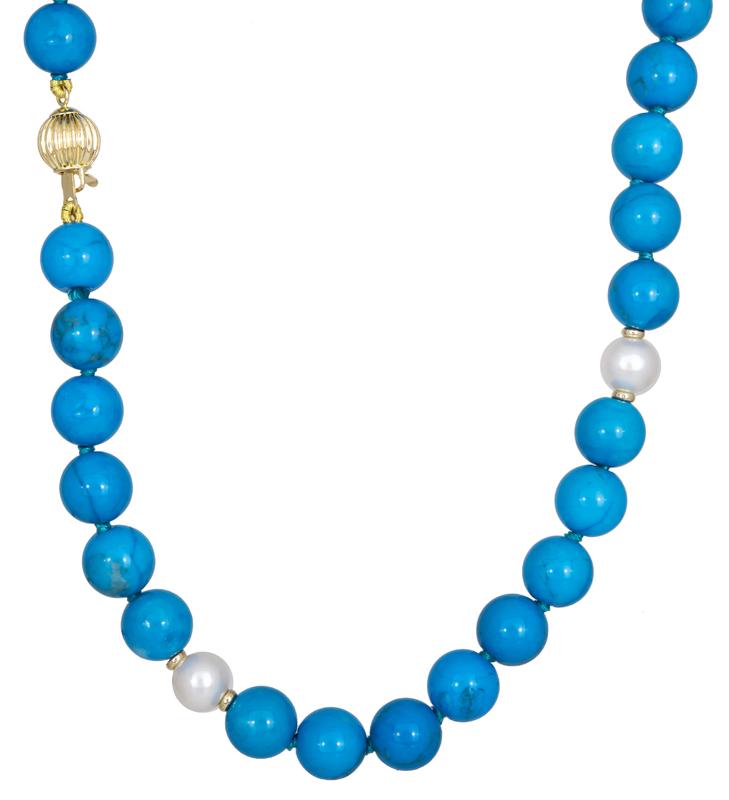 Κολιέ με τυρκουαζ πέτρες Κ14 022107 022107 Χρυσός 14 Καράτια