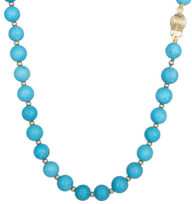 Γυναικείο κολιέ με τυρκουαζ πέτρες Κ14 022111 022111 Χρυσός 14 Καράτια