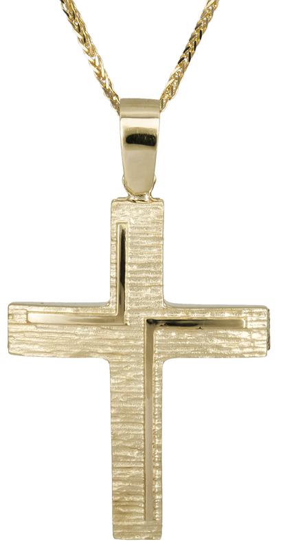 Βαπτιστικοί Σταυροί με Αλυσίδα Χρυσός σταυρός με αλυσίδα 14Κ C022116 022116C Ανδρικό Χρυσός 14 Καράτια