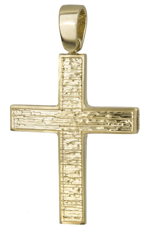 Σταυροί Βάπτισης - Αρραβώνα Χρυσός ανάγλυφος σταυρός 14Κ 022117 022117 Ανδρικό Χρυσός 14 Καράτια