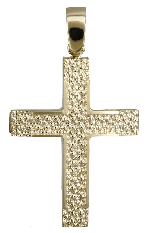 Σταυροί Βάπτισης - Αρραβώνα Αντρικός ανάγλυφος σταυρός 14Κ 022118 022118 Ανδρικό Χρυσός 14 Καράτια