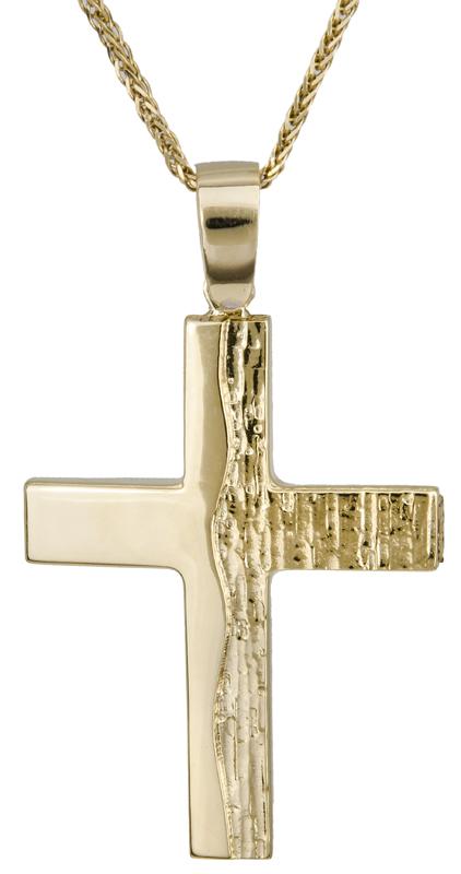 Βαπτιστικοί Σταυροί με Αλυσίδα Χρυσός σταυρός για αγόρι 14Κ C022120 022120C Ανδρικό Χρυσός 14 Καράτια