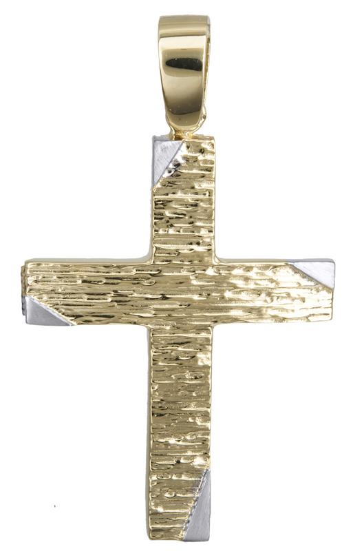 Σταυροί Βάπτισης - Αρραβώνα Αντρικός ανάγλυφος σταυρός 14Κ 022121 022121 Ανδρικό Χρυσός 14 Καράτια