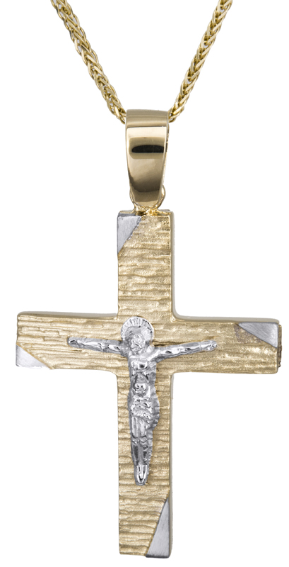 Βαπτιστικοί Σταυροί με Αλυσίδα Δίχρωμος αντρικός σταυρός Κ14 C022122 022122C Ανδρικό Χρυσός 14 Καράτια
