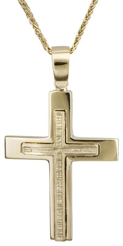 Βαπτιστικοί Σταυροί με Αλυσίδα Αντρικός κλασικός σταυρός 14Κ C022123 022123C Ανδρικό Χρυσός 14 Καράτια
