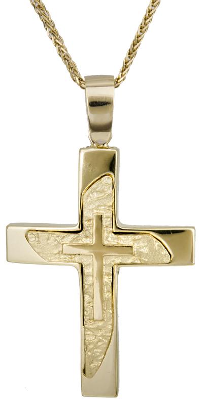 Βαπτιστικοί Σταυροί με Αλυσίδα Αντρικός σταυρός με αλυσίδα 14Κ C022124 022124C Ανδρικό Χρυσός 14 Καράτια