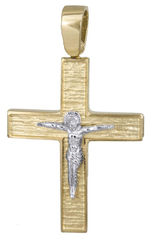 Σταυροί Βάπτισης - Αρραβώνα Χρυσός σταυρός με τον Εσταυρωμένο Κ14 022128 022128 Ανδρικό Χρυσός 14 Καράτια