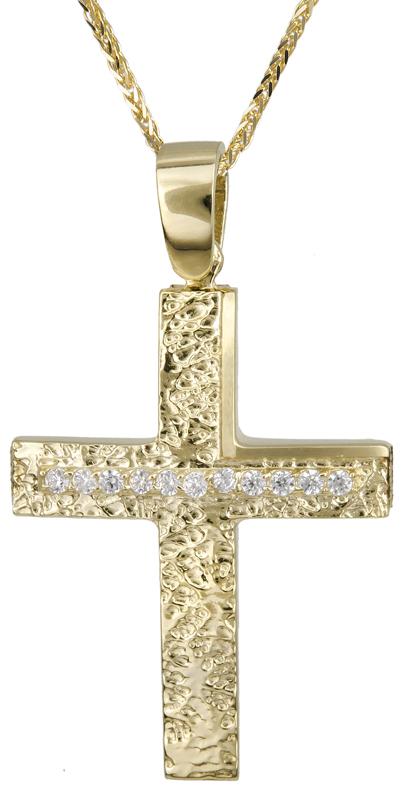 Βαπτιστικοί Σταυροί με Αλυσίδα Χρυσός γυναικείος σταυρός με αλυσίδα 14Κ C022131 022131C Γυναικείο Χρυσός 14 Καράτια