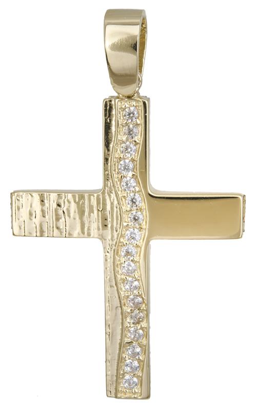 Σταυροί Βάπτισης - Αρραβώνα Χρυσός σταυρός για κορίτσι Κ14 022133 022133 Γυναικείο Χρυσός 14 Καράτια
